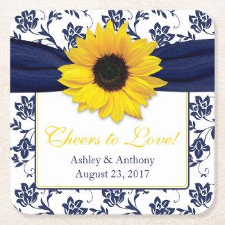 Sunflower Navy Blue Damask Personalized Wedding Square Paper Coaster