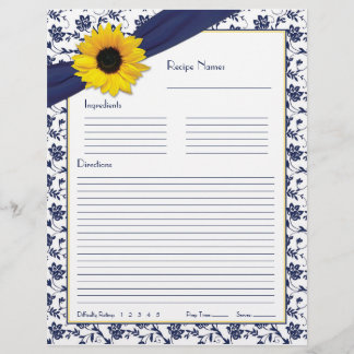 Sunflower Navy Blue Floral Binder Recipe Inserts
