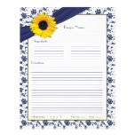 Sunflower Navy Blue Floral Binder Recipe Inserts Flyer