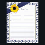 "Sunflower Navy Blue Floral Binder Recipe Inserts Letterhead<br><div class=""desc"">Use these 8.5&quot;x11&quot; navy blue and white floral and ribbon yellow sunflower recipe pages with the matching recipe binder. The text is fully customizable, so these yellow sunflower navy blue floral and ribbon recipe sheets could easily be changed to whatever you&#39;d like. You can change the text on the binder...</div>"