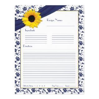 Sunflower Navy Blue Floral Binder Recipe Inserts Letterhead at Zazzle