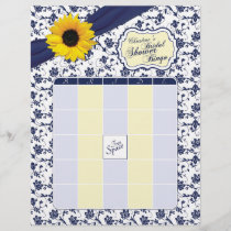 Sunflower Navy Blue Floral Bridal Shower Bingo