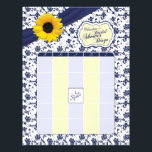 "Sunflower Navy Blue Floral Bridal Shower Bingo Letterhead<br><div class=""desc"">You can personalize the name on this yellow sunflower, navy blue and white floral and ribbon personalized bridal shower bingo game letterhead. You can change the name using the personalize option.The colors on this bridal shower bingo letterhead are yellow, navy blue and white... perfect for a spring, summer, or fall...</div>"