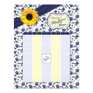 Sunflower Navy Blue Floral Bridal Shower Bingo Letterhead