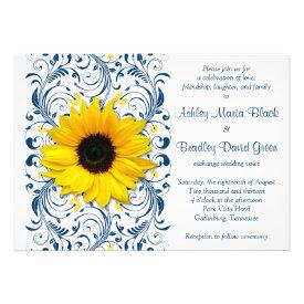 Sunflower Navy Blue Floral Wedding Invitation