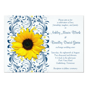 Sunflower Navy Blue Floral Wedding Invitation 5
