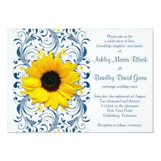 "Sunflower Navy Blue Floral Wedding Invitation 5"" X 7"" Invitation Card"