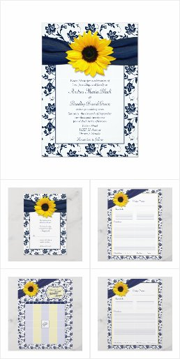 Sunflower Navy Blue Floral Wedding Stationery