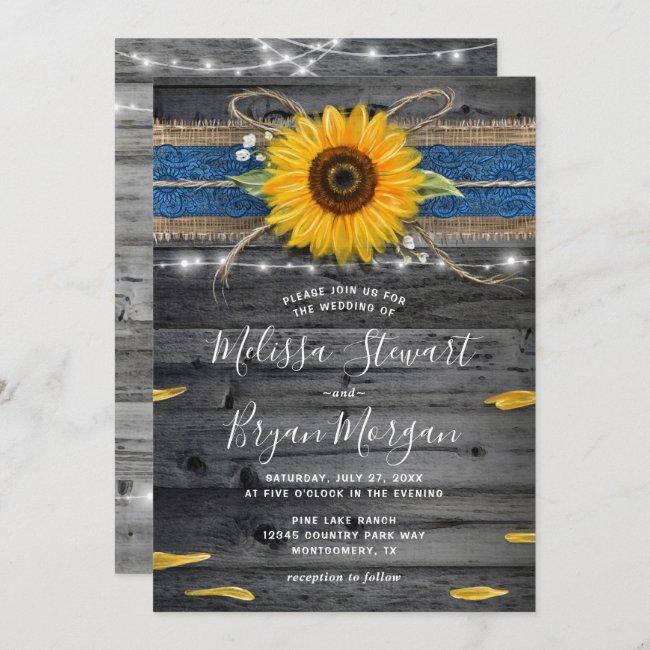 Sunflower Navy Blue Lace Rustic Wood Wedding Invitation
