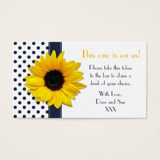 Sunflower Navy Blue Polka Dot Drink Ticket Tokens