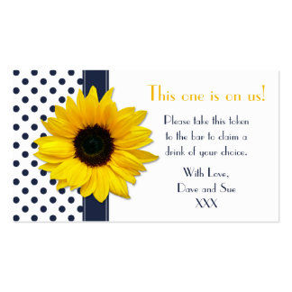 Sunflower Navy Blue Polka Dot Drink Ticket Tokens Double-Sided Standard Business Cards (Pack Of 100)