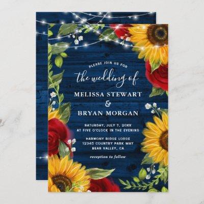 Sunflower Navy Blue Red Rose Rustic Wood Wedding Invitation