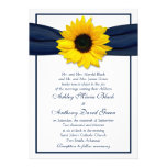 Sunflower Navy Blue Ribbon Wedding Invitation