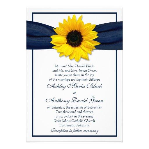 sunflower navy blue ribbon wedding invitation 13 cm x 18
