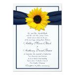 Sunflower Navy Blue Ribbon Wedding Invitation