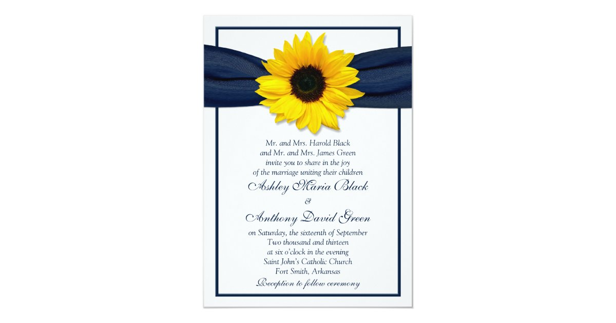 Sunflower navy blue ribbon wedding invitation zazzle stopboris Gallery