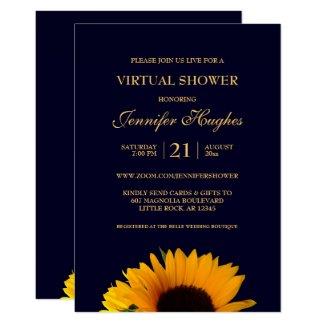 Sunflower Navy Blue Virtual Shower Invitation