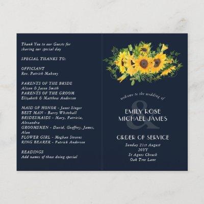 Sunflower Navy Blue Wedding Program or other event