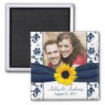 Sunflower Navy Blue White Damask Wedding Magnet Refrigerator Magnet
