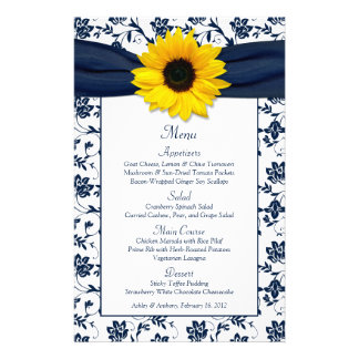 Sunflower Navy Blue White Damask Wedding Menu Card