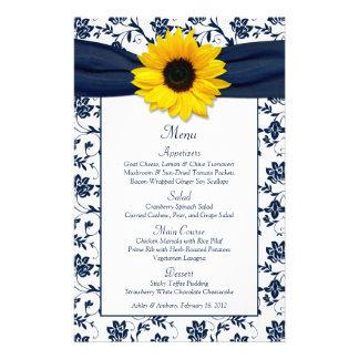 Sunflower Navy Blue White Damask Wedding Menu Card