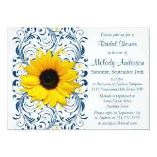 Sunflower Navy Blue White Floral Bridal Shower Card