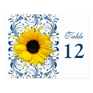 Sunflower Navy Blue White Floral Table Number Card