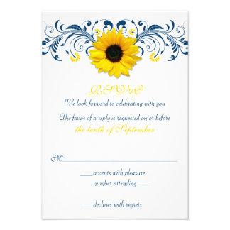 Sunflower Navy Blue Yellow Floral Wedding RSVP Announcement