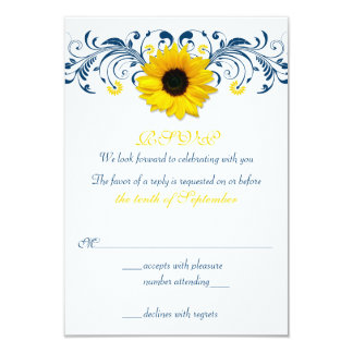 "Sunflower Navy Blue Yellow Floral Wedding RSVP 3.5"" X 5"" Invitation Card"
