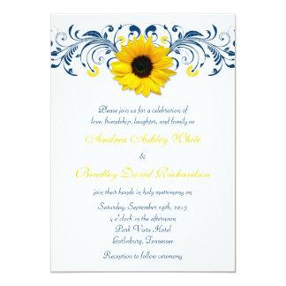 Sunflower Navy Blue Yellow White Floral Wedding Card