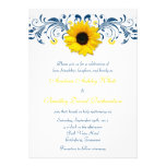 Sunflower Navy Blue Yellow White Floral Wedding Custom Invites