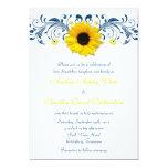 Sunflower Navy Blue Yellow White Floral Wedding Custom Invites