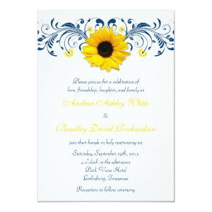 Sunflower Navy Blue Yellow White Floral Wedding 5x7 Paper Invitation Card