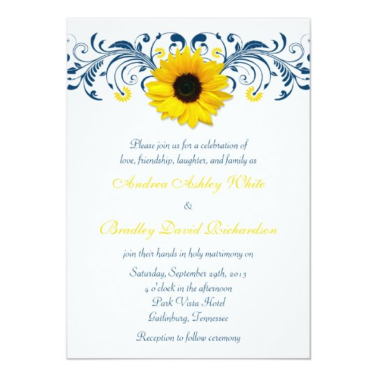 Yellow Blue Damask Vintage Vow Renewal Invitation
