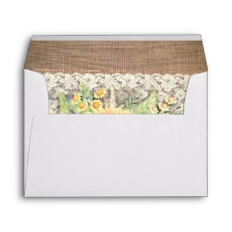 Burlap and Lace Rustic Sunflower Wedding Envelopes