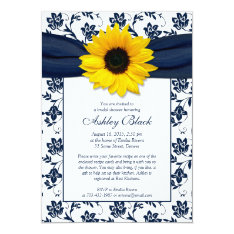 Sunflower Navy Damask Bridal Shower Invitation at Zazzle