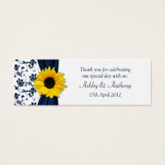 Sunflower Navy Damask Floral Wedding Favor Tags at Zazzle