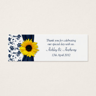 Sunflower Navy Damask Floral Wedding Favor Tags