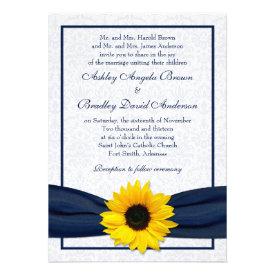 Sunflower Navy Damask Floral Wedding Invitation