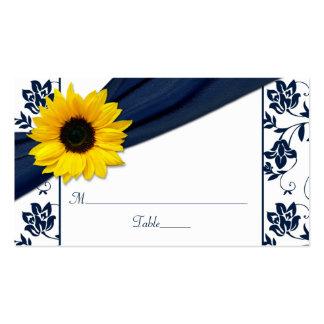Sunflower Navy Damask Floral Wedding Place Cards
