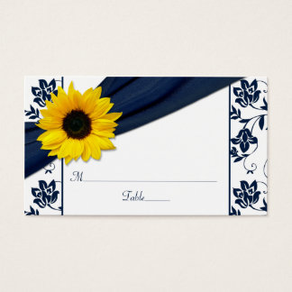 Sunflower Navy Damask Floral Wedding Place Cards