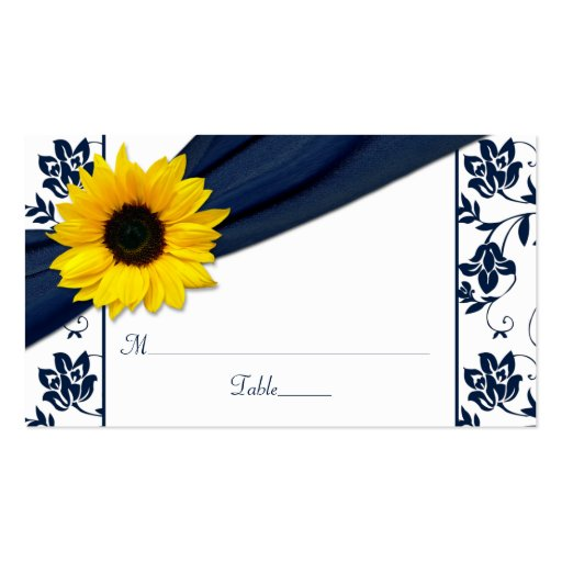 Sunflower Navy Damask Floral Wedding Place Cards Business Card Template