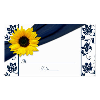Sunflower Navy Damask Floral Wedding Place Cards Double-Sided Standard Business Cards (Pack Of 100)
