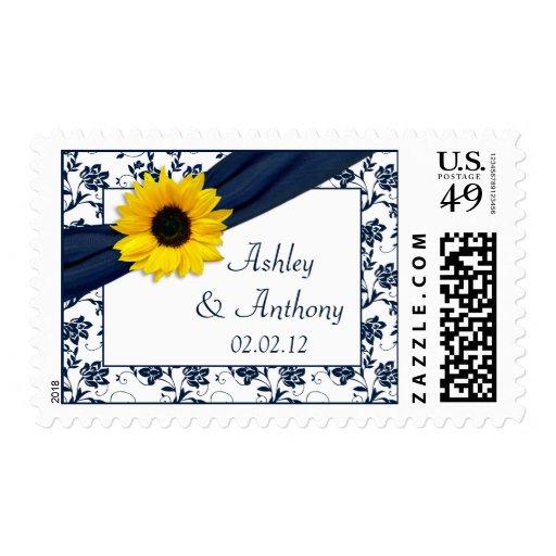 Sunflower Navy Damask Floral Wedding Postage