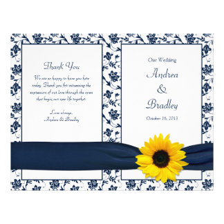 Sunflower Navy Damask Floral Wedding Program