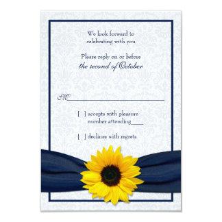 Sunflower Navy Damask Floral Wedding RSVP Card