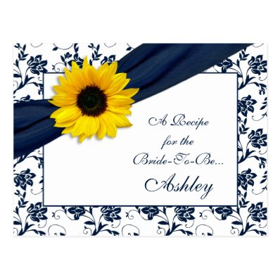 Sunflower Navy Damask Recipe Card for the Bride Post Card