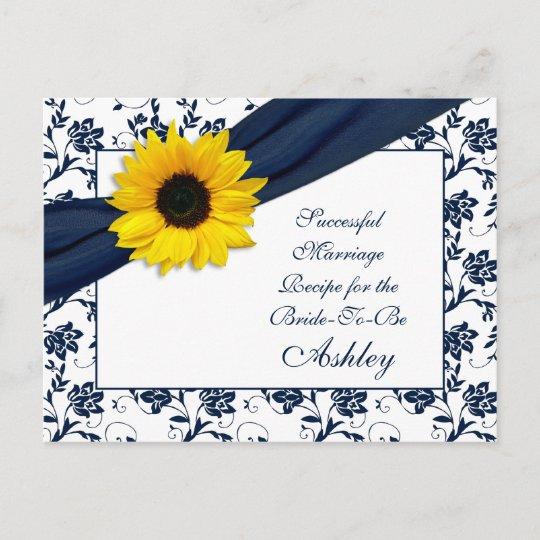 Sunflower Navy Damask Successful Marriage Recipe Advice Card