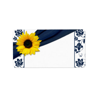 Sunflower Navy Damask Wedding Blank Address Label