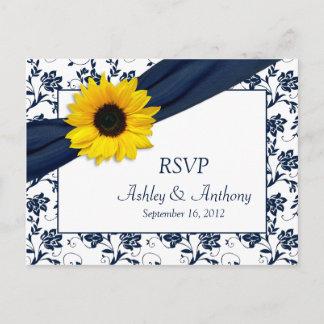 Sunflower Navy Damask Wedding RSVP Postcard